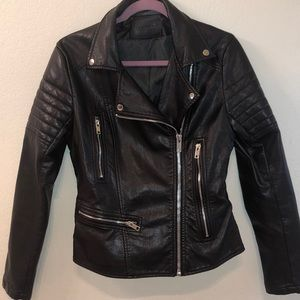 Brown lapel leather jacket
